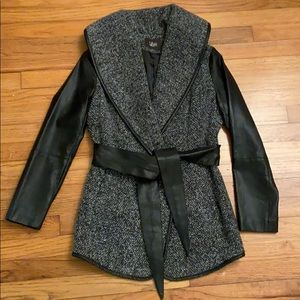 Tweed and Faux Leather Coat/Jacket